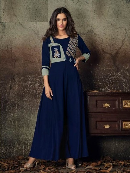 Blue Color Heavy Rayon Long Kurti with Embroidery Work