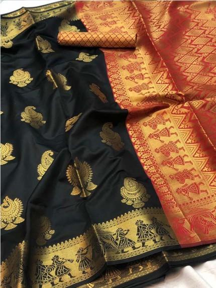 Pretty Look Black Color Banarasi Silk Saree with Zari work