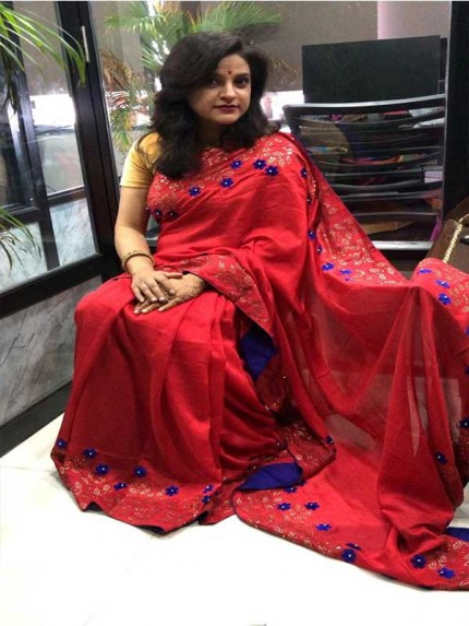 Red  Color Top Qulity Vichitra Silk Fabric With Gold Colour Sweroski Dimond Work Saree