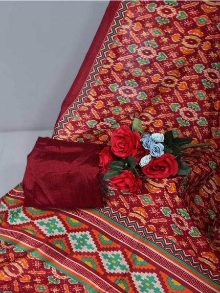 Multi Colour Raw Silk Saree Ikkat Printed All Over