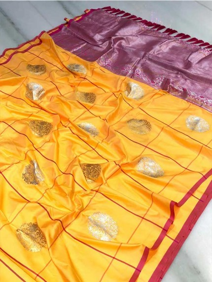 Attractive Look Yellow Colour Kanchipuram With Golden And Sliver Pure Zari Saree