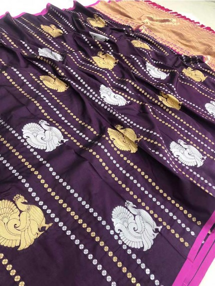 Attractive Look Wine Colour Kanchipuram With Golden And Sliver Pure Zari Saree