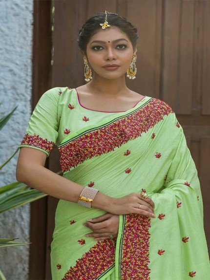 Married Season Green Colour  Fancy embroidered work sarees