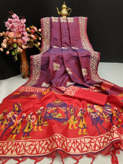 Wine Colour Soft Raw Silk Two Tone Weaving Saree With Antique Design