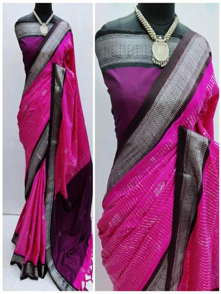 Classic Look Cotton Silk Saree with beautiful sequence embroidery along with zari woven butta