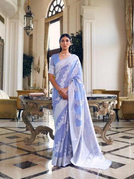 Stunning Look Blue Colour  Modal Chikankari Weaving Saree