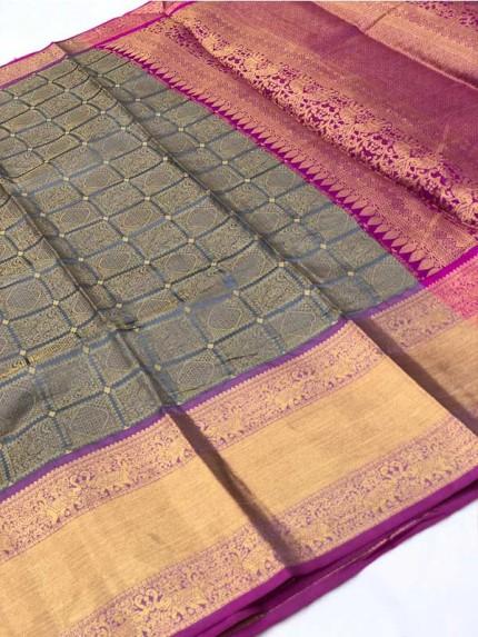 Attractive Look Grey Colour Banarasi Silk With Beautiful Zari  Work