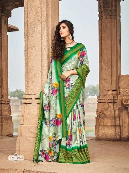 Designer Grey Colour Soft Silk Saree