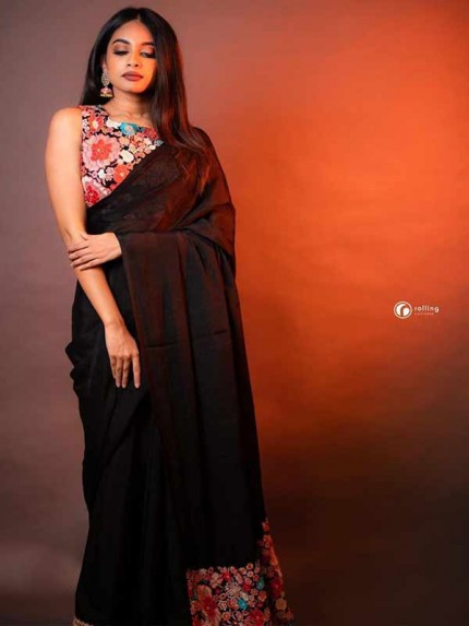 Special Black Color Satin Silk Excellent Prints Saree
