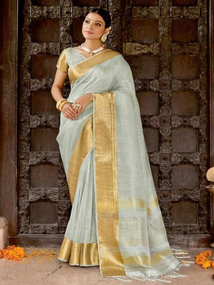 Pretty Look Grey Color Soft Tissue Zari With Doube Blouse Saree