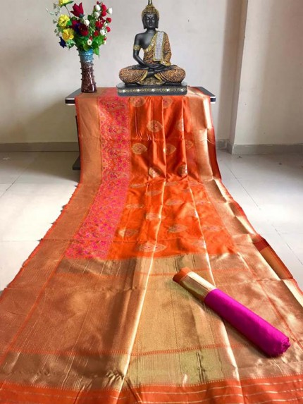 Stunning Look Orange Colour Banarasi silk weaving saree with  meenakari border