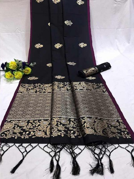 Attractive Look Black Colour Soft Banarasi Silk Saree with Silver and Gold Zari weaving Pallu