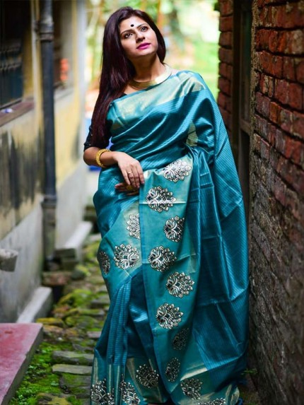 Designer Look Cyan Color Raw Silk weaving saree with embroidery butta