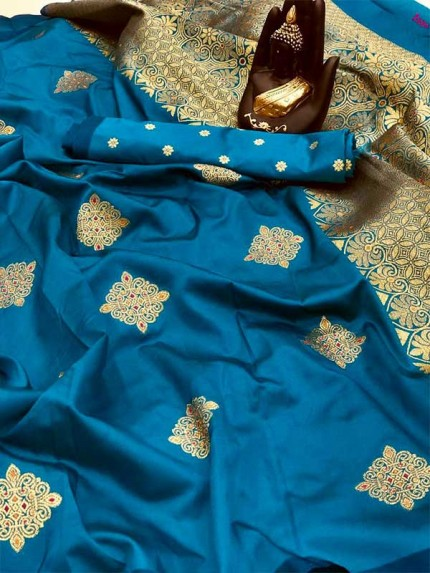 Attractive Look SkyBlue color Banarasi Handloom Weaving Silk Saree