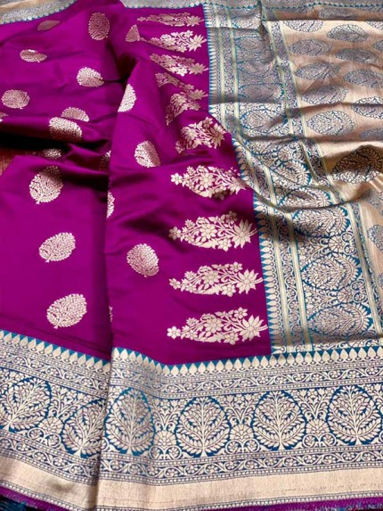 Wine Colored Beautiful Pure Weaving Silk Meenakari Design Saree