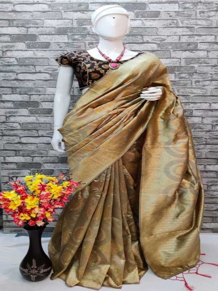 Stylish Look Beige Colour Heavy Banarsi silk With Weaving Saree