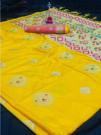 Attractive Look Yellow Color Lichi Silk Saree with meena and heavy rich pallu