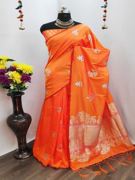 Rich Look Orange Colour Cotton Silk Saree With Heavy Weaving Blouse