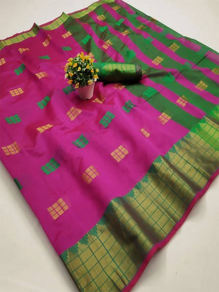 Pretty Look Purple Color Kota Silk Weaving Jacquard Saree with contrast Pallu