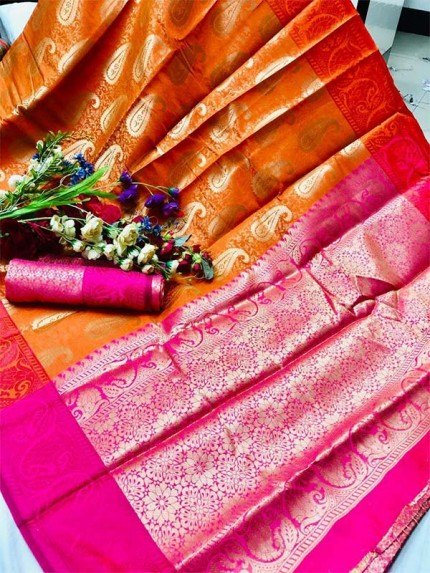 Festival Season Multi Color Lichi Silk weaving Saree with Rich pallu