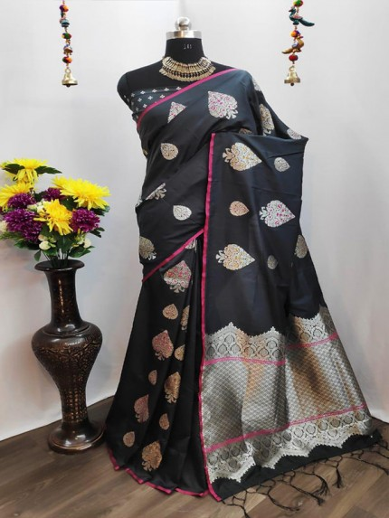 Rich Look Black Colour Cotton Silk Saree With Heavy Weaving Blouse