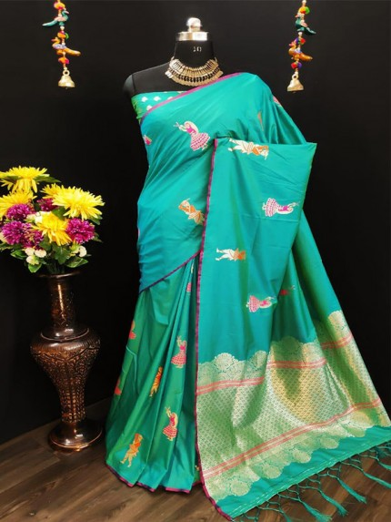 Rich Look Cyan Colour Cotton Silk Saree With Heavy Weaving Blouse