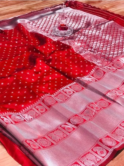 Unique Style Soft Cotton Silk Weaving Silver Jari Saree With Jari Weaving Border