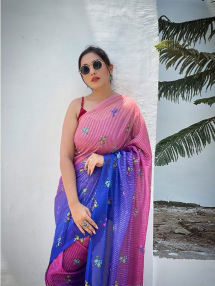 Printed Hit Design Georgette sequence work Saree with banglori sattin blouse