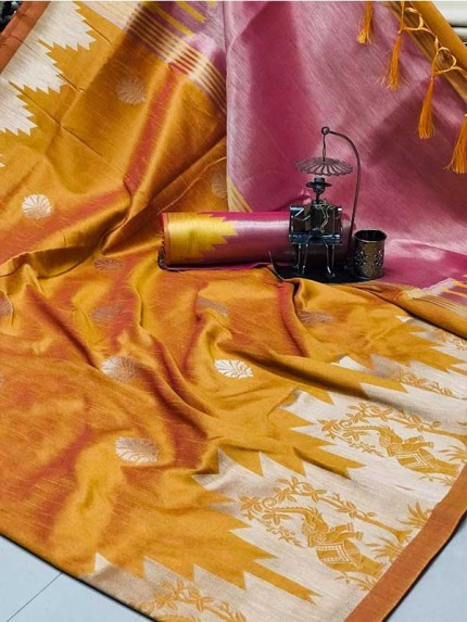 Stunning Golden Color Ekkat Silk Rich Pallu Weaving Border  All Over Nice Designing Saree With Weaving Blouse