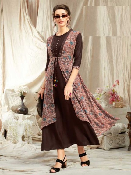 Black Color Rayon Fabric Fashionable Kurti With Checks Work