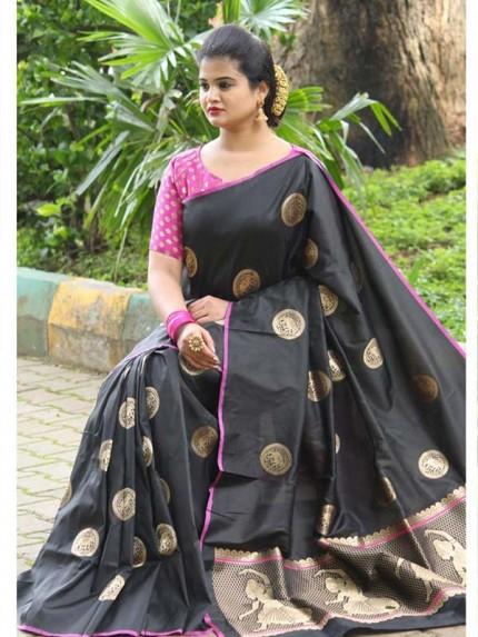 Latest Traditional Look Black  Color Soft Banarasi Silk Rich Pallu With Checks And Peacock Butta And Full Saree Peacock Butta Saree