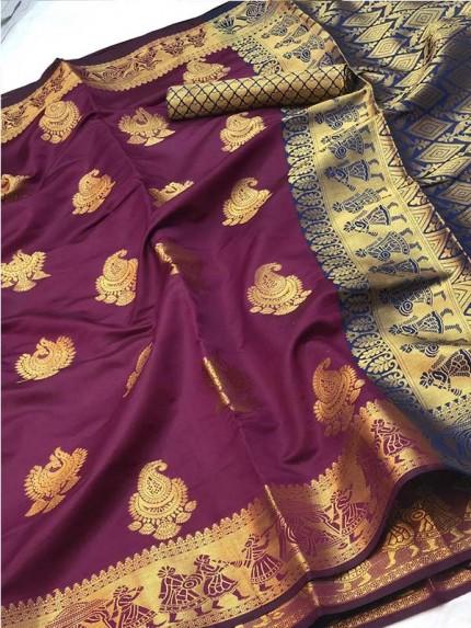 Pretty Look Purple Color Banarasi Silk Saree with Zari work