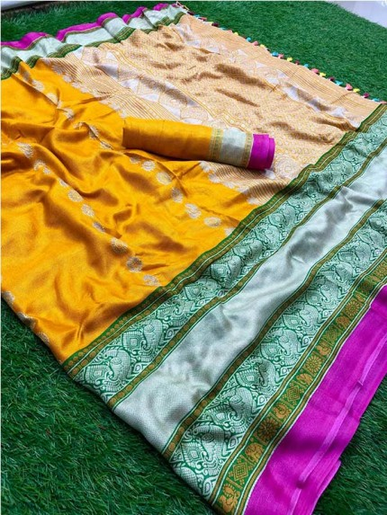 Eye-Catching Look Yellow color Matrix Linen With Rich Pallu And  Tassels Comes Along With Contrast Blouse Saree