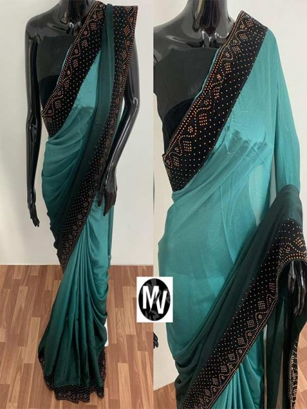 Wedding Season Cyan color Rangoli Silk Fabric with machine stone diamond work Saree