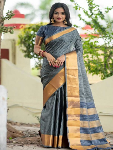 Graceful combination Grey   Color Soft Art Silk Weaving Saree With Zari Woven Border