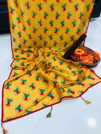 New Eye Catcher Multi Color Pure Raw Digital Silk Blend Saree