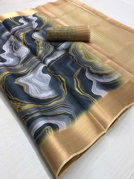 Special Multi Color Satin Silk With Marble Print Saree
