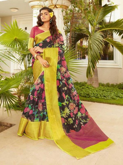 Trending Organza Self Pattorn Calculator Zari Checks Saree