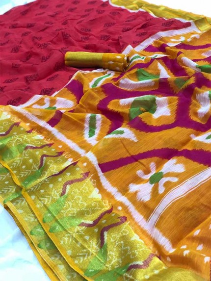 Traditional Look Multi Colour Pochampally Double Ikkath Pattu Print Sarees