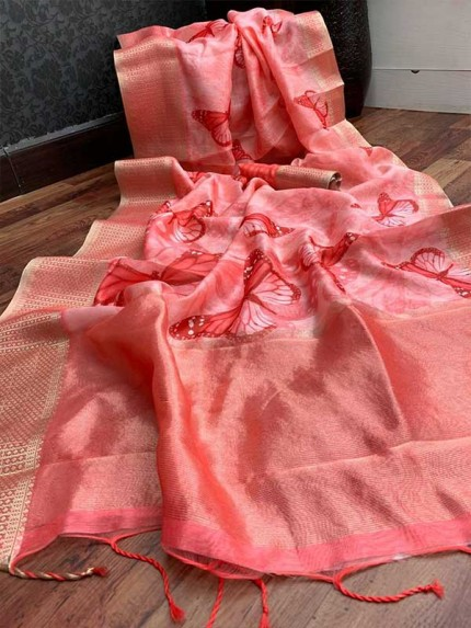 Stunning Peach Color Handloom Linen Saree With Digital Printed With Rich Zari Wooven Pallu