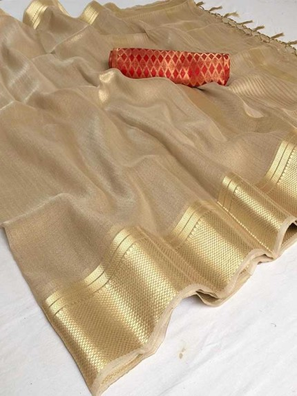 Pretty Look Beige Color Soft Tissue Zari With Doube Blouse Saree
