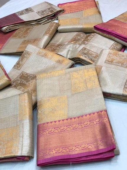 Exclusive Look Multi Color kora tussiu weaving sarees with pretty zari weaves