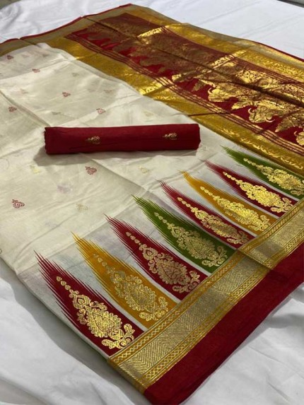 New Trending Off White Colour Foil Print Jecord Border With Contrast Blouse Saree