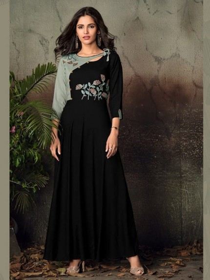 Black Color Heavy Rayon Long Kurti with Embroidery Work