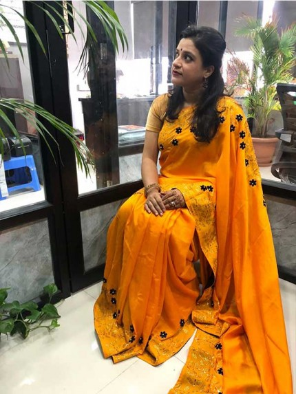 Yellow Color Top Qulity Vichitra Silk Fabric With Gold Colour Sweroski Dimond Work Saree