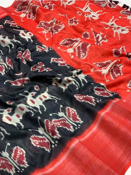 Beautiful Semi Handloom Linen Chanderi Sarees With Pochampally Kalmkari Beautiful Prints