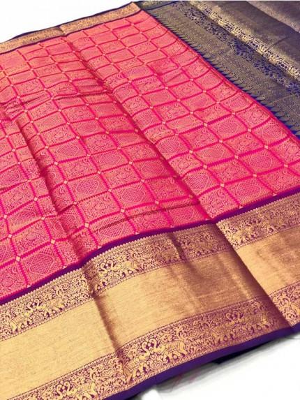 Attractive Look Pink Colour Banarasi Silk With Beautiful Zari  Work