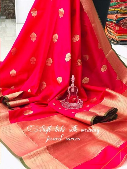 Graceful combination Pink Color Lichi Silk weaving Jacquard Saree