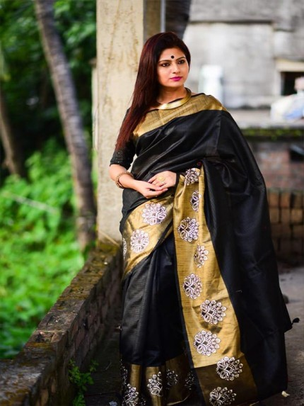 Designer Look Black Color Raw Silk weaving saree with embroidery butta