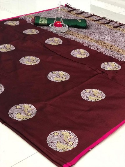 Stunning Look Brown Colour Banarasi silk weaving saree with  reach pallu